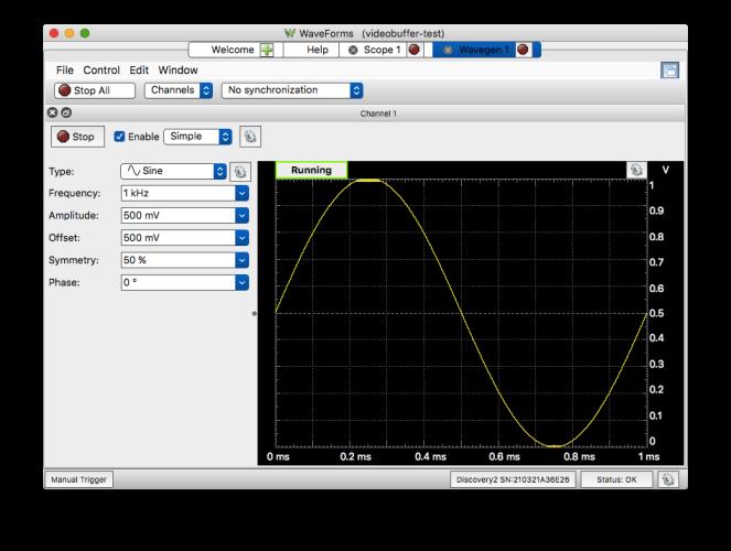 Test waveform: 1kHz Sine from 0-1V